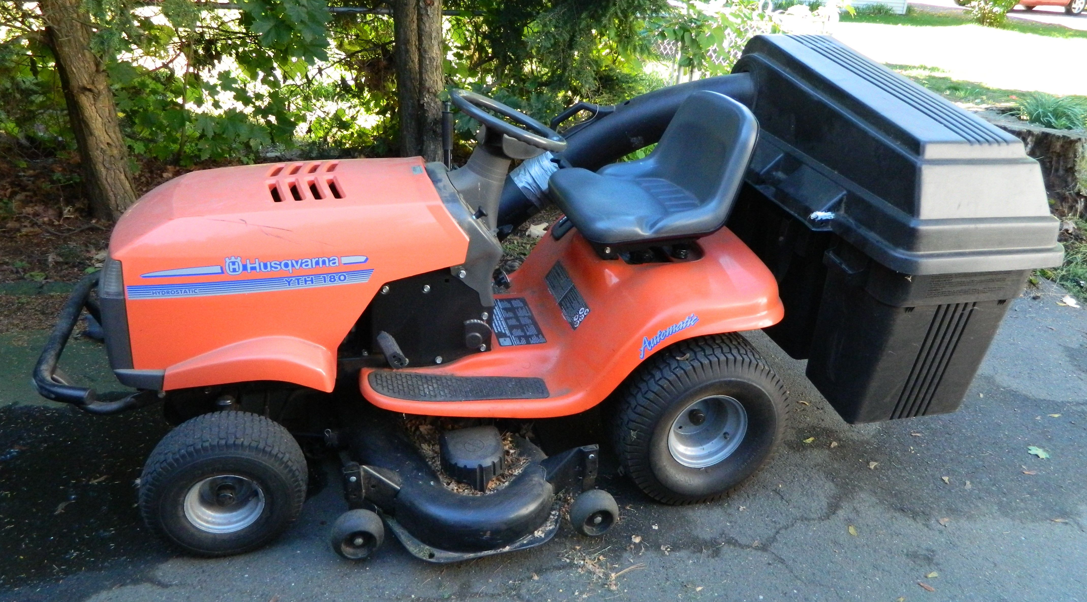 Husquvarna Lawn Tractor Model Yth 180 With Mower Deck And 3 Tup Bagger Attachment Can Be Used With Mulching Cover As Well I Lawn Tractor Mulching Tractors