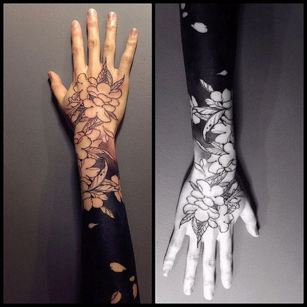 Flowers Tattoo Black Arm Tattoo Tattooed Tattoos: Latest Blackwork Tattoo On Arm