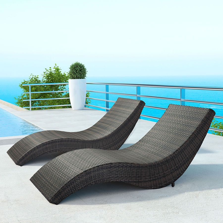 Hanz Synthetic Weave Modern Outdoor Chaise Lounge Outdoor Chaise Lounge Outdoor Chaise Patio Chaise Lounge