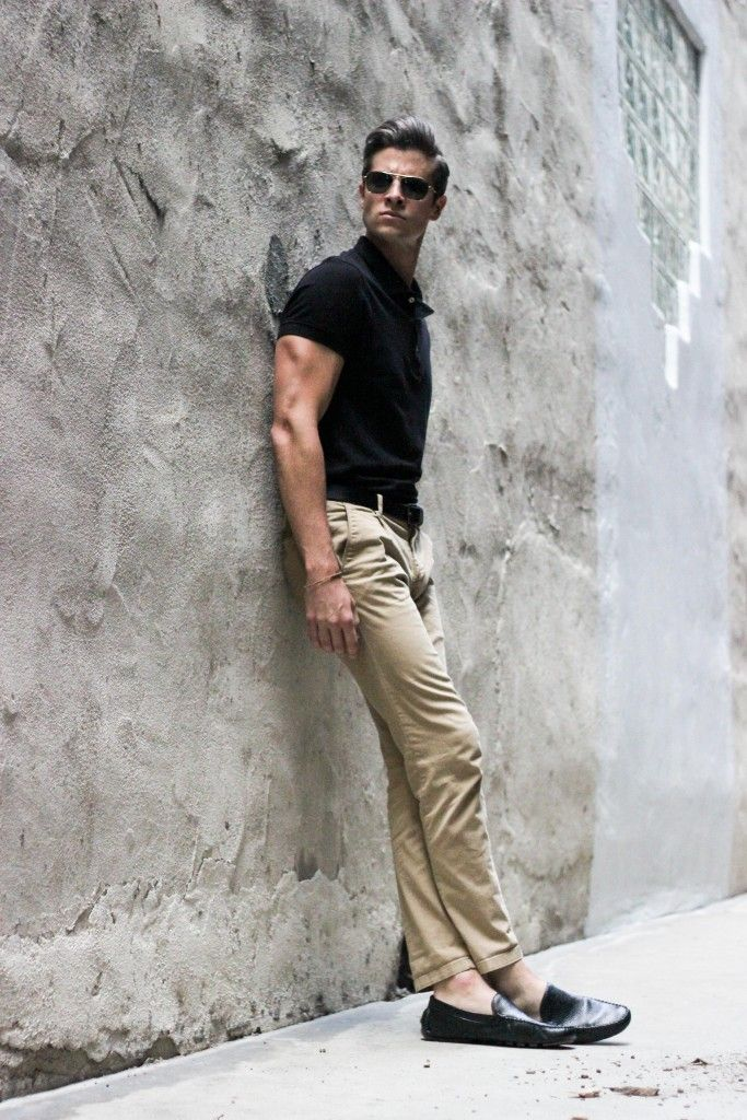 Tan shirt black pants