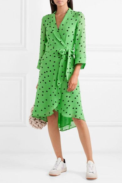 45fbc504 GANNI - Polka-dot georgette wrap dress | Add to Bag // Shopping List ...