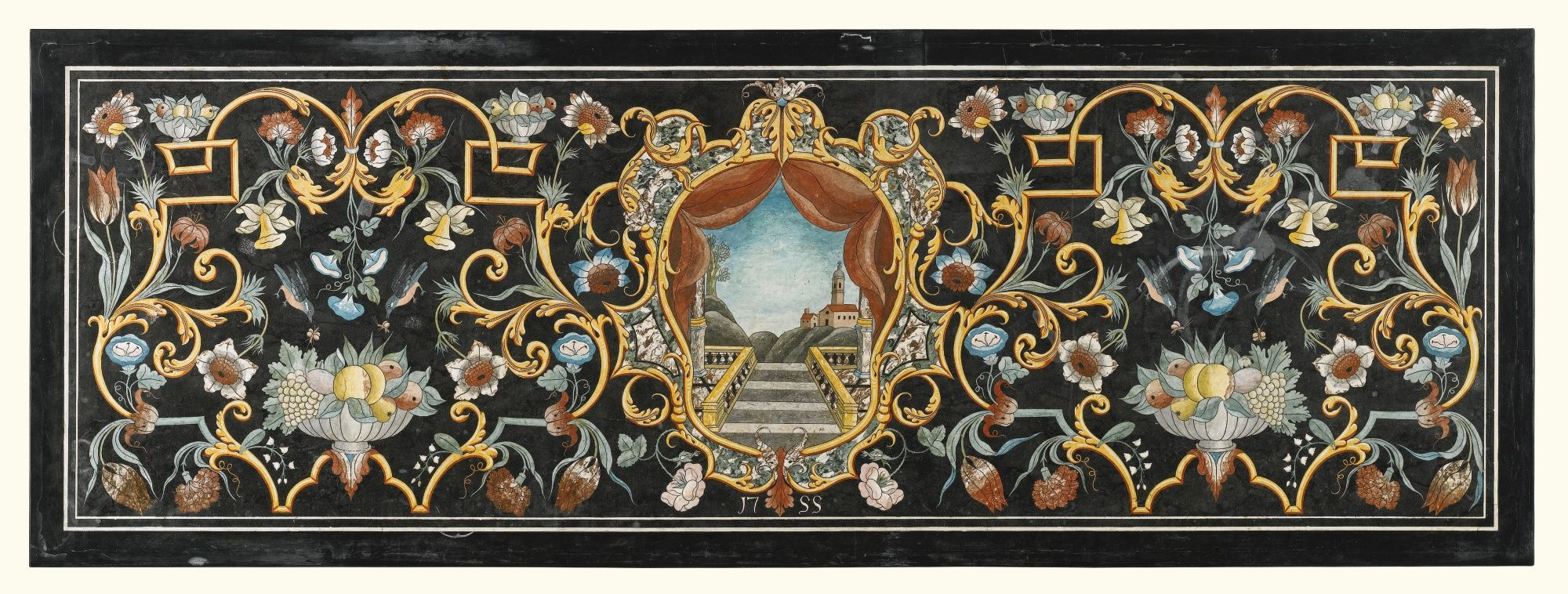 An Italian scagliola table top, in 18th century style  with a central cartouche depicting a staircase, balustrade and a village on a hill, dated 1755