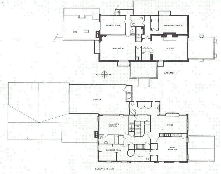 Elvis Presley S Graceland Floor Plan Basement And Second Floor 755 594 Elvis Presley Graceland Elvis Presley House Graceland