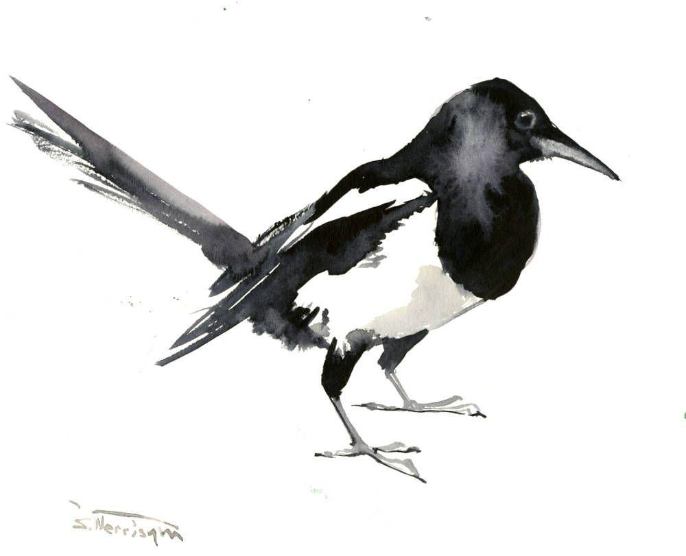 Magpie Artwork, Original watercolor, 12 X 9 in, Magpie painting ...