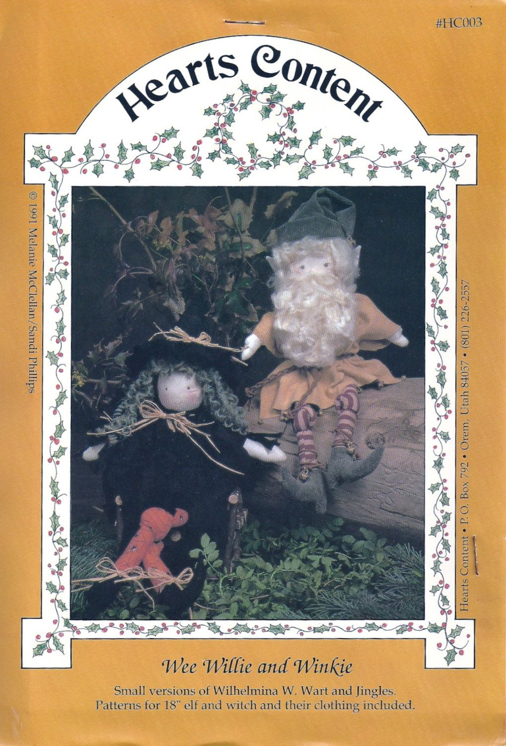"18"" Elf and Witch - ""Wee Willie and Winkie"" - Hearts Content Vintage Craft Pattern Series by KrissesKorner on Etsy"