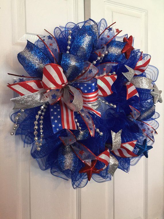 Photo of 22″ Patriotic/4th of July Deco Mesh Wreath with Multicolor Bow – Blue