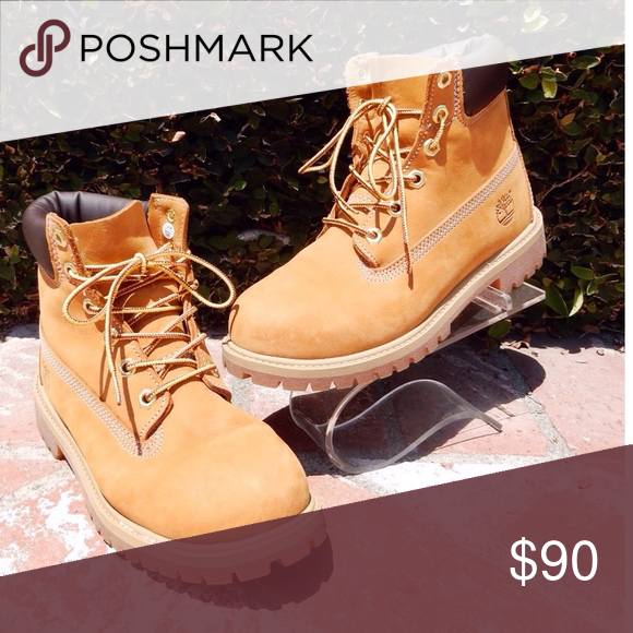 run shoes promo code discount shop SOLD- Like new tan Timberland boots size 7 1/2 Size- Junior ...