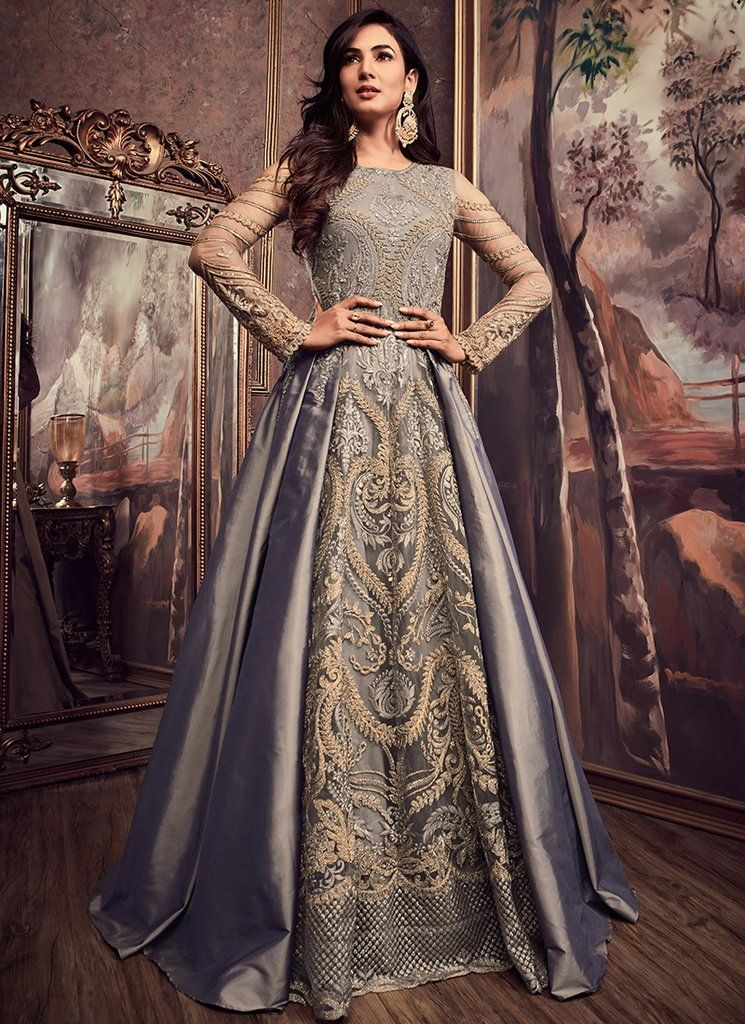 a9885a7dd0 Grey Embroidered Silk Anarkali Suit