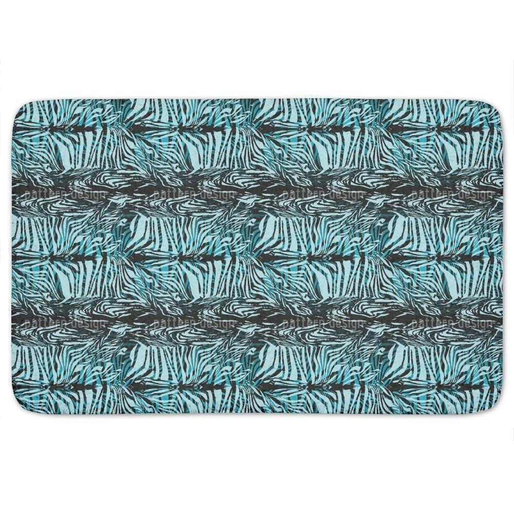 Uneekee Zebrafur Blue Bath Mat