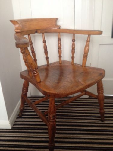 Original Untouched Captains Solid Wood Smokers Chair Heavy Vintage Antique   eBay
