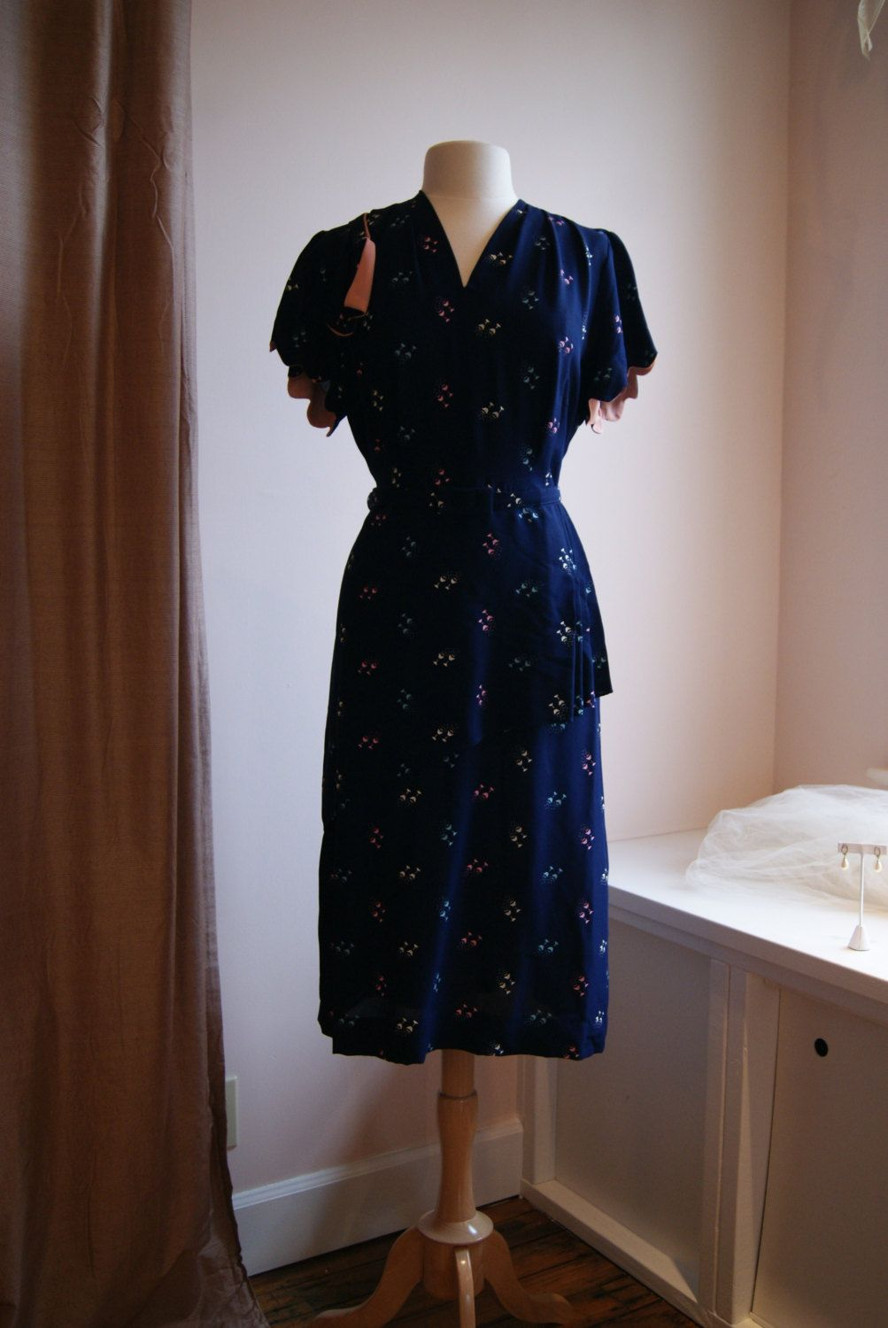 S dress vintage us navy blue rayon dress with cocktail