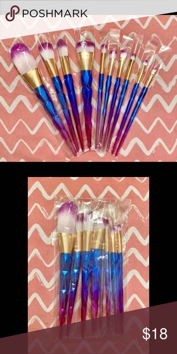 Mermaid Unicorn Metallic Makeup Brushes Brand new, never