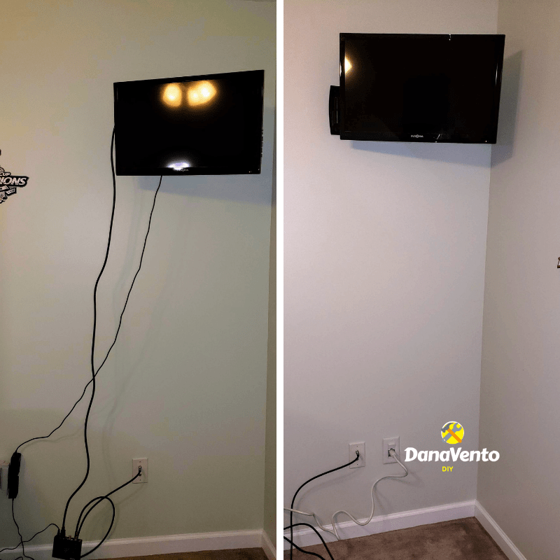 How To Easily Hide Power And Cables For A Wall Mounted Tv Hide Wires On Wall Hide Cords On Wall Hiding Tv Cords On Wall