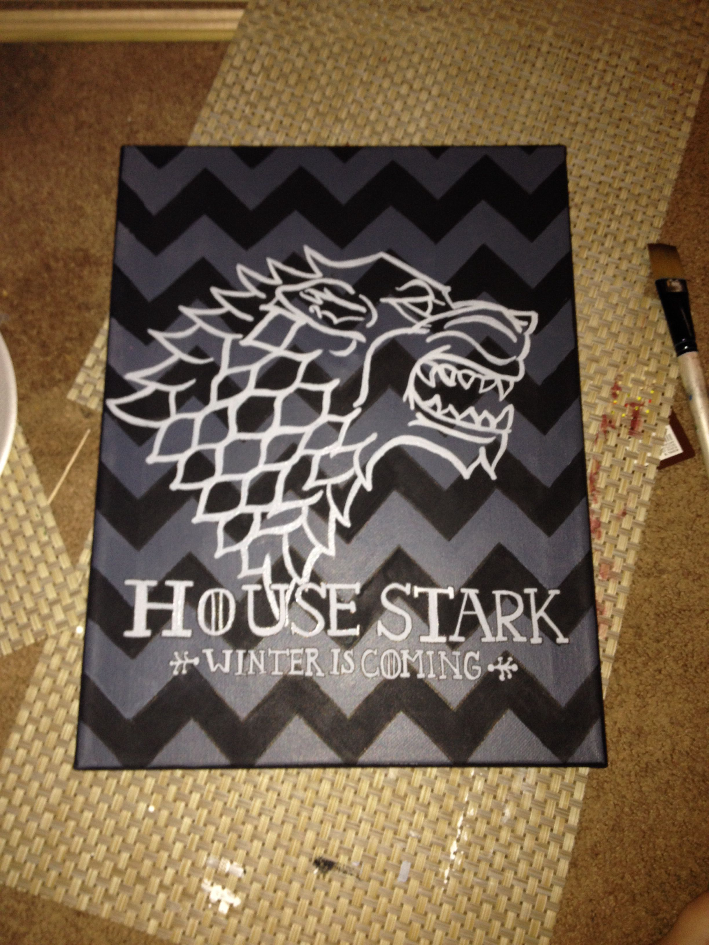 Game Of Thrones Canvas House Stark Sigil Must Try Diy Canvas