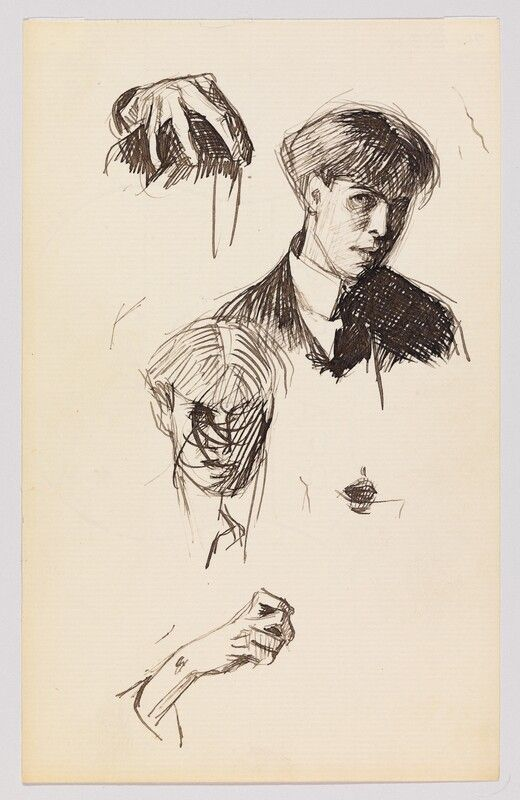 Edward Hopper Self portrait sketches and other studies c1900