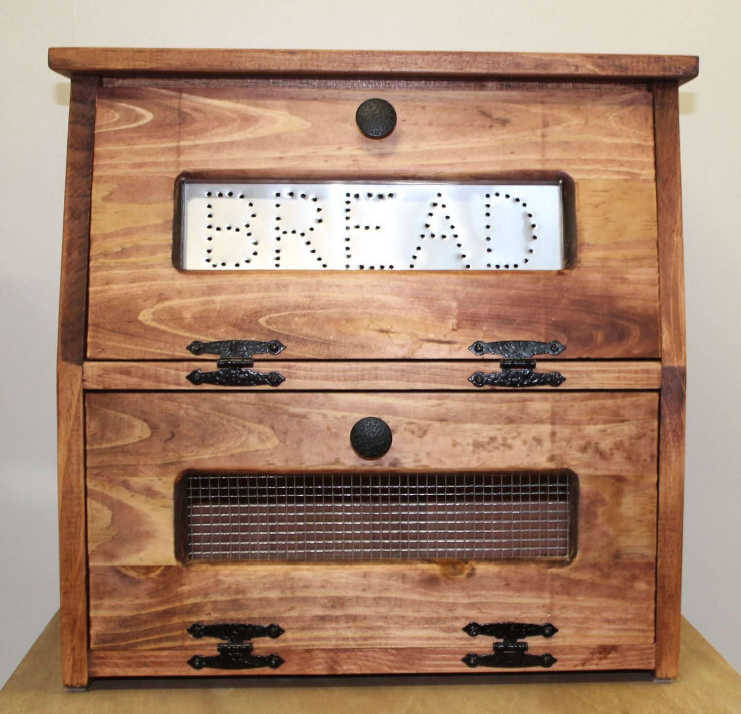Rustic Bread Box Vegetable Bin wooden Punched Tin Storage