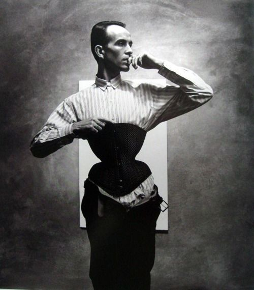 12bad673f6 Self-taught corset designer Mr. Pearl. His corseted waist measures just  eighteen inches  he claims to wear a corset twenty-four hours a day