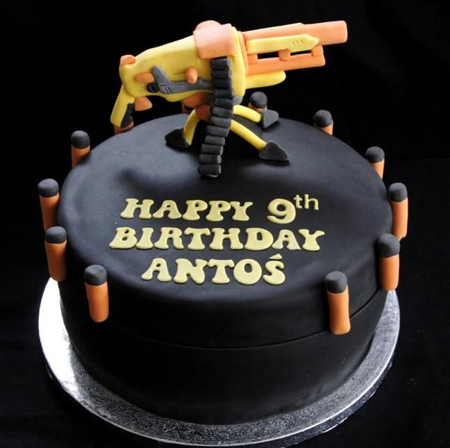 Nerf cake Maybe add a real nerd gun on top birthday cake idea