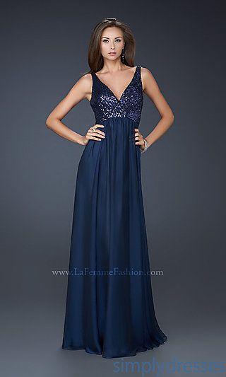 Dresses, Formal, Prom Dresses, Evening Wear: V-neck Chiffon La Femme Dress