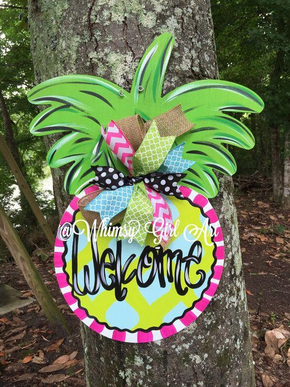 Colorful Pineapple Door Hanger By Whimsygirlart On Etsy Door Hangers Door Wreath Hanger