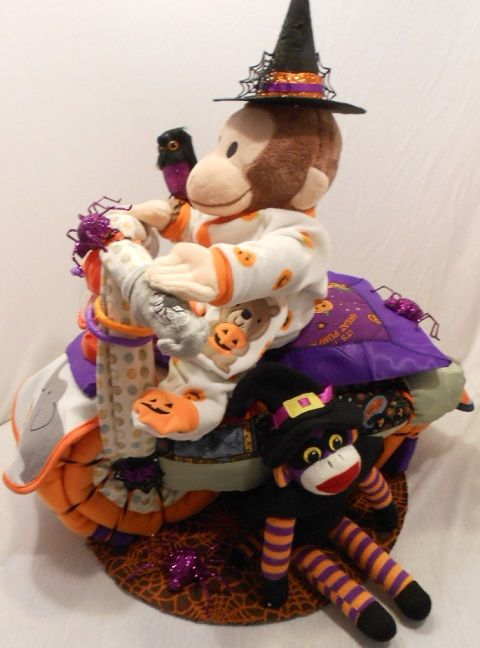 Halloween Themed Diaper Cake created by LeVa Creations