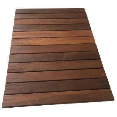 Rollfloor 2 Ft X 3 Ft Camping Wood Deck Tile Pads In Brown 11115 The Home Depot Wood Deck Tiles Deck Tile Outdoor Balcony