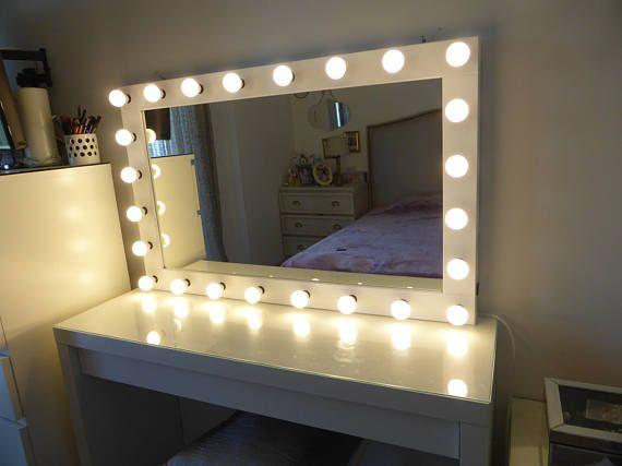 Super Sale Xxl Vanity Mirror 43x27 Hollywood Etsy Ikea Malm Makeup