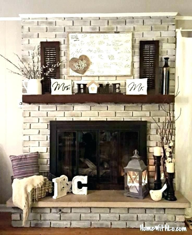 Fireplace Without Mantle Mantel, How To Decorate A Brick Fireplace Without Mantle