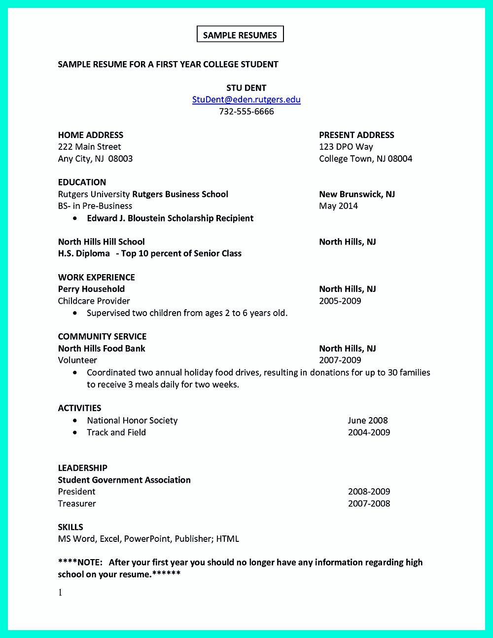 college student sample resumehtml – Sample Resumes for College