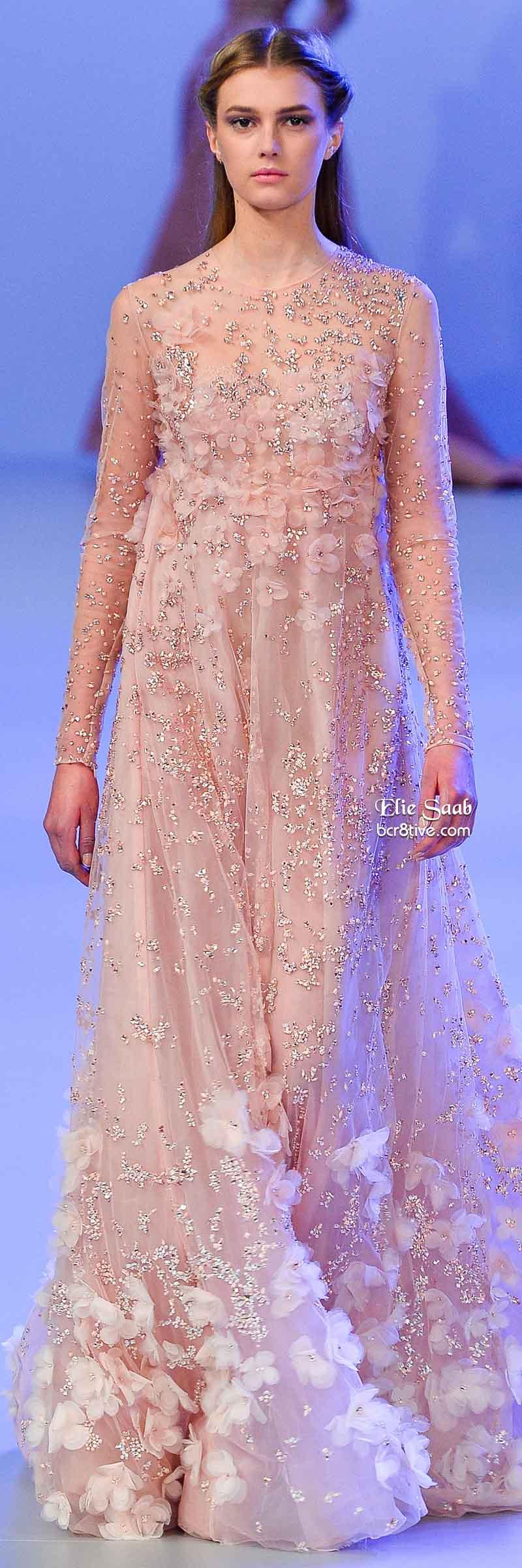 Elie Saab Spring 2014 Couture Collection | Vestido rosado, Rosas y ...