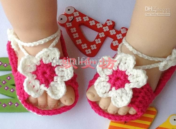Wholesale Cheap flower Crochet handmade knit Baby Booties cotton yarn Soft soles shoes sandals 0-12 month old, Free shipping, $10.45-15.0/Piece | DHgate