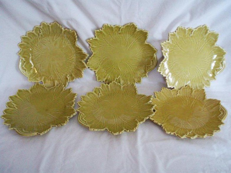 6 Steubenville Woodfield Leaf Plates Golden Fawn $78. w/fs