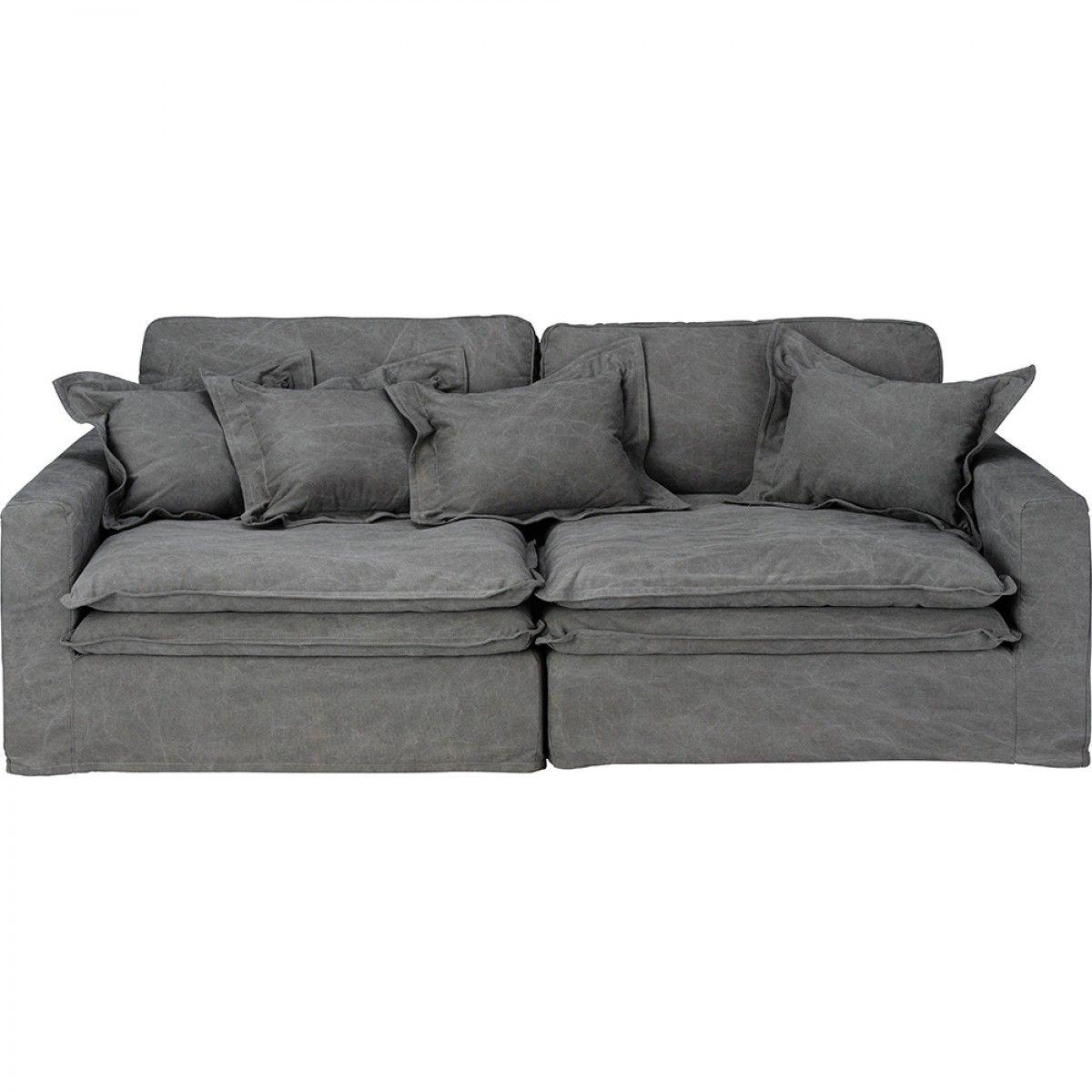 Seater Sofa Vintage Grey Cotton