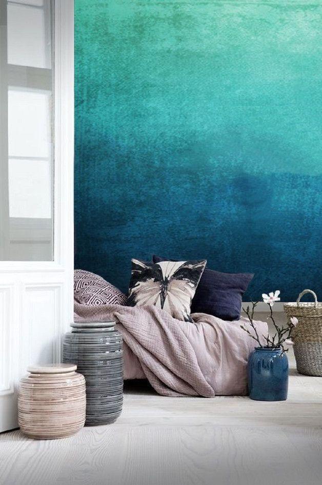 Hingucker Tapete Furs Schlafzimmer Mit Ombre Effekt Blautone Im