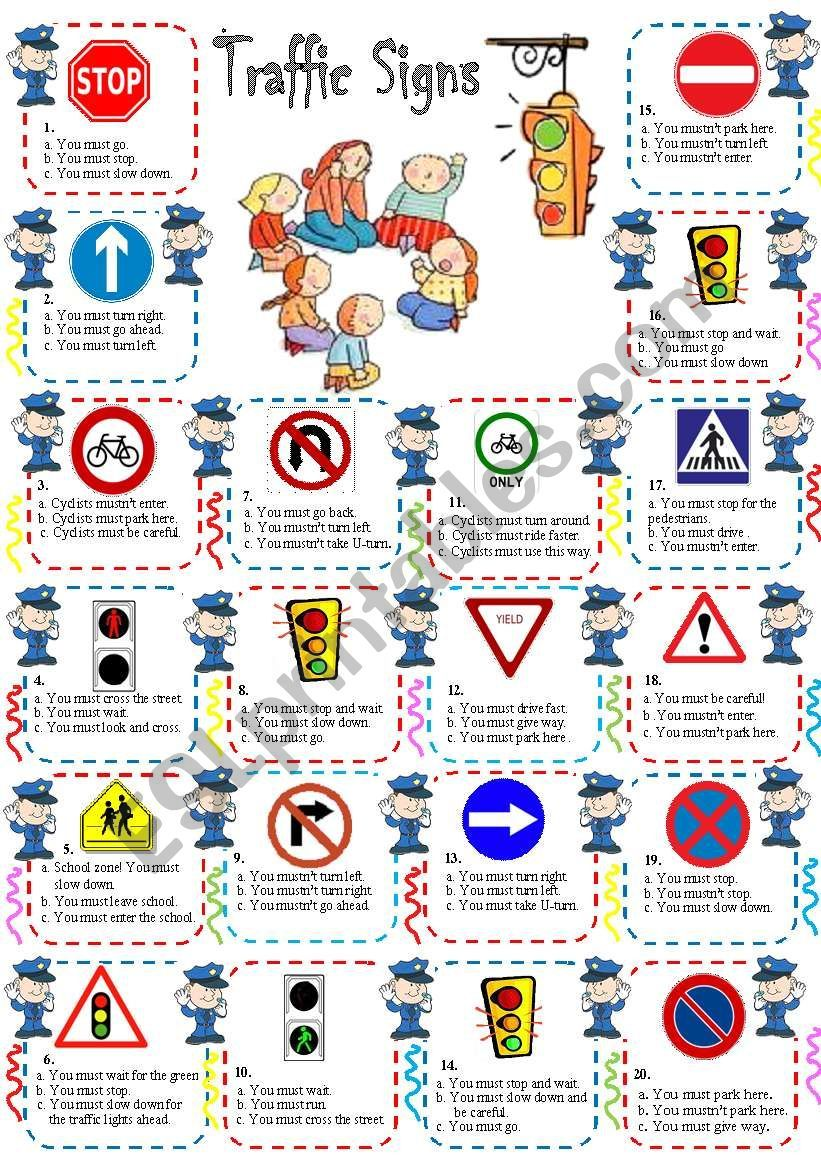 traffic rules including must/mustn´t. Tata bahasa