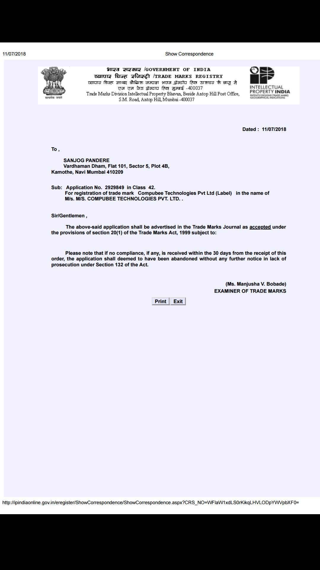 Compubee Technologies Pvt Ltds Trademark Registration Has Been Accepted By