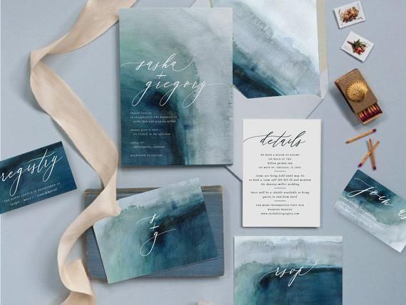 Printable Destination Wedding Invite Set Ocean Themed Wedding