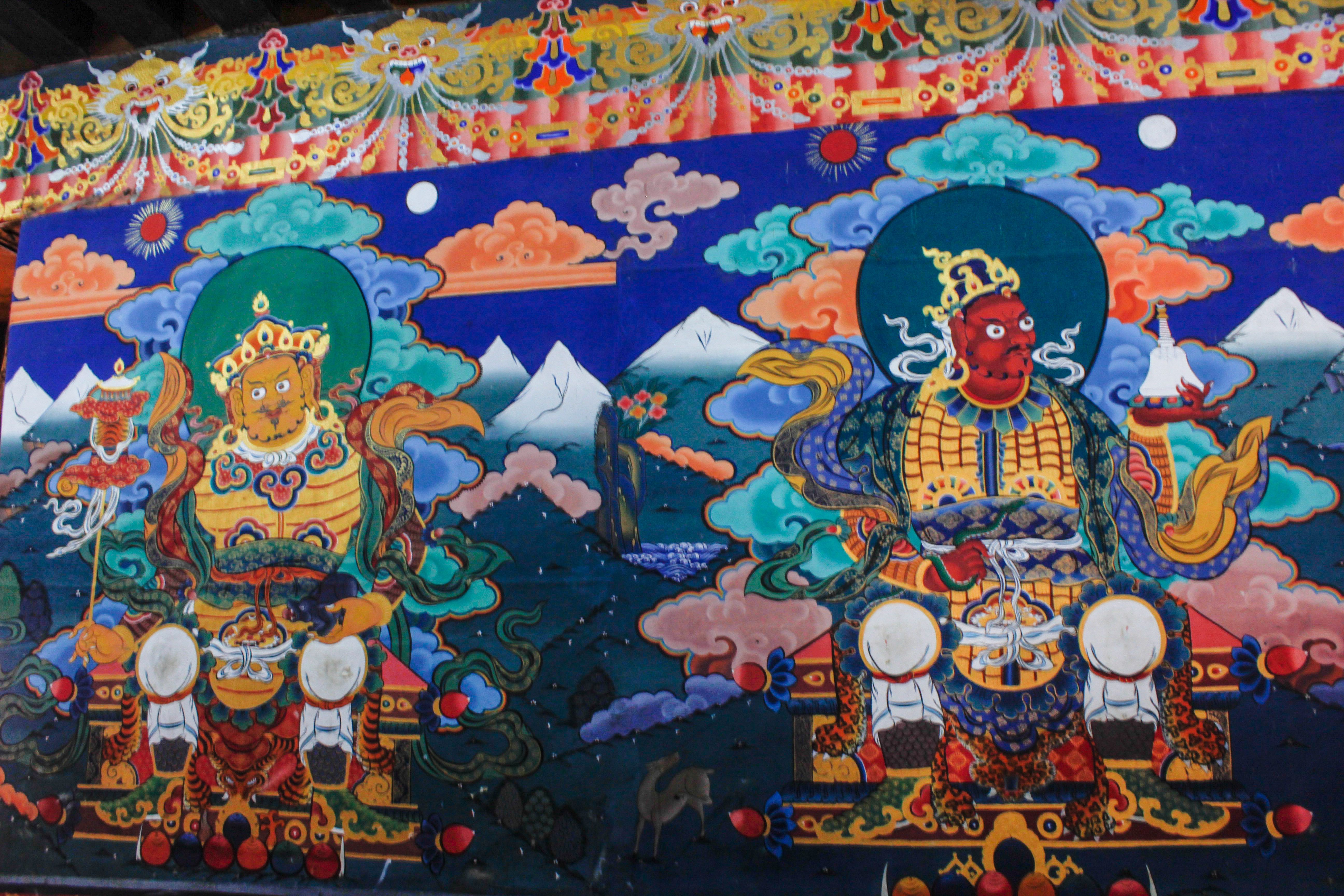 Buddhist Wall Painting At The Paro Rinpung Dzong In Bhutan It Is