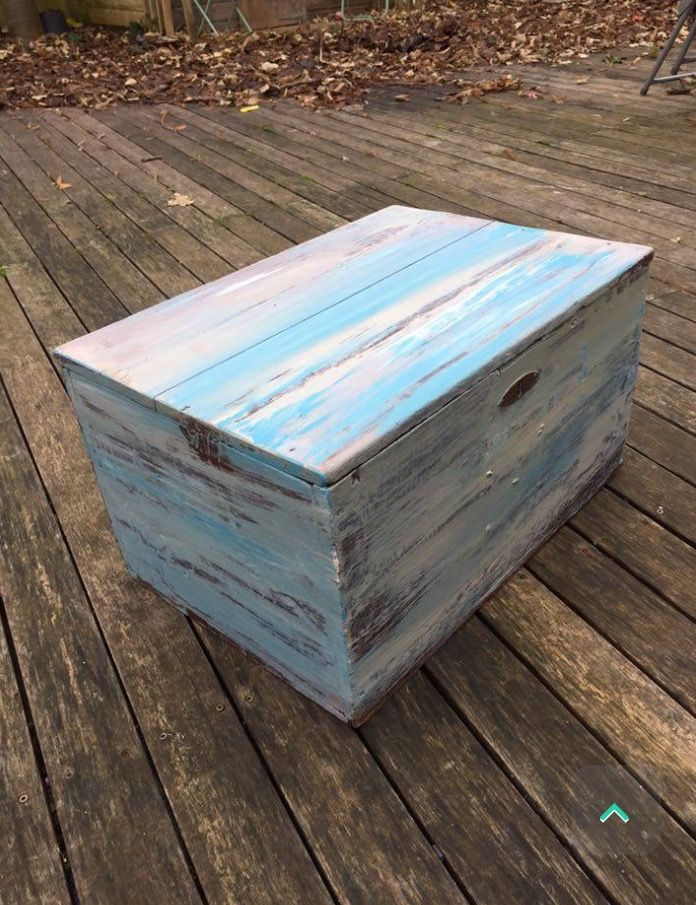 Beach hut inspired blanket box Painted with