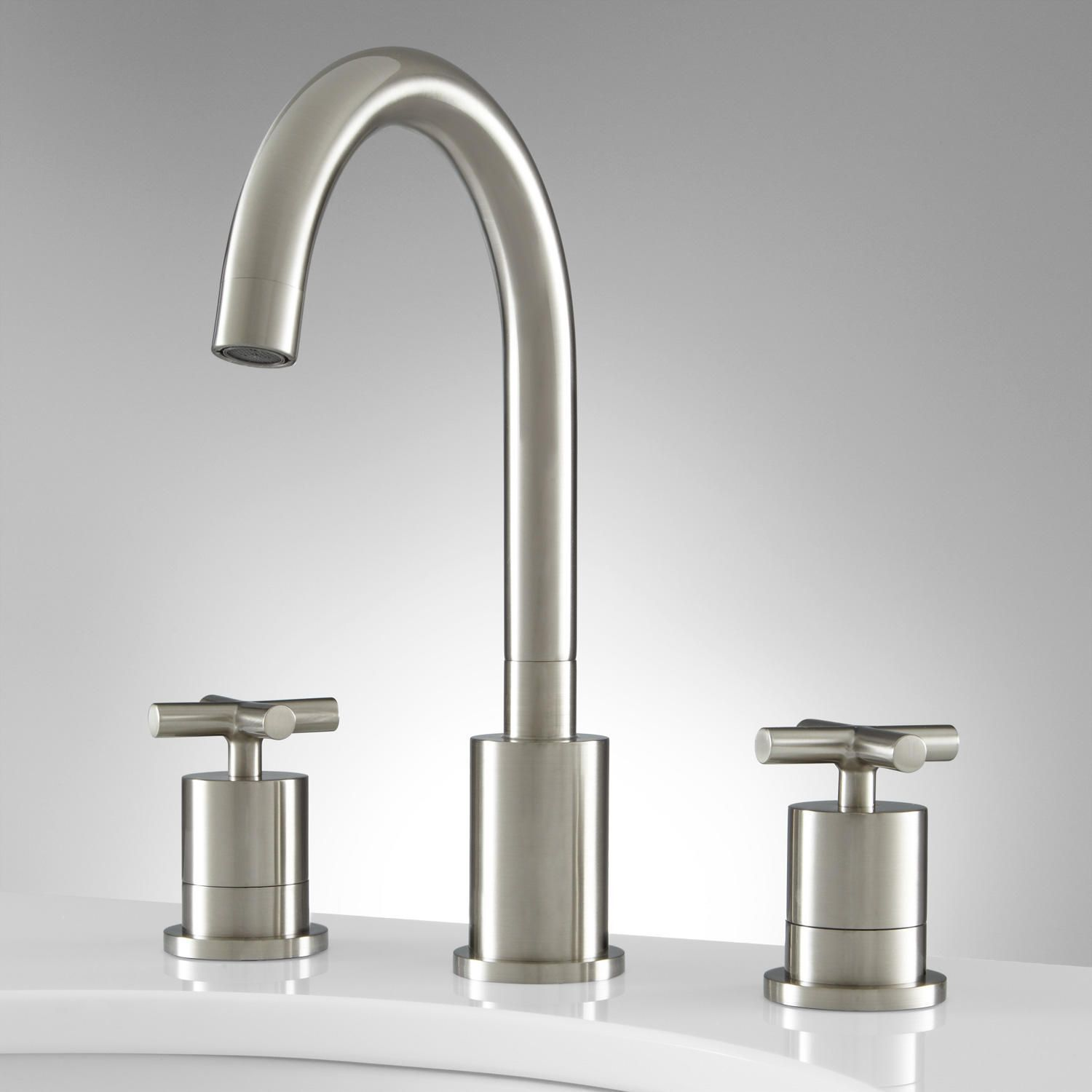 Exira Widespread Bathroom Faucet  Overflow  Brushed Nickel Delectable Brushed Nickel Bathroom Faucets Design Inspiration