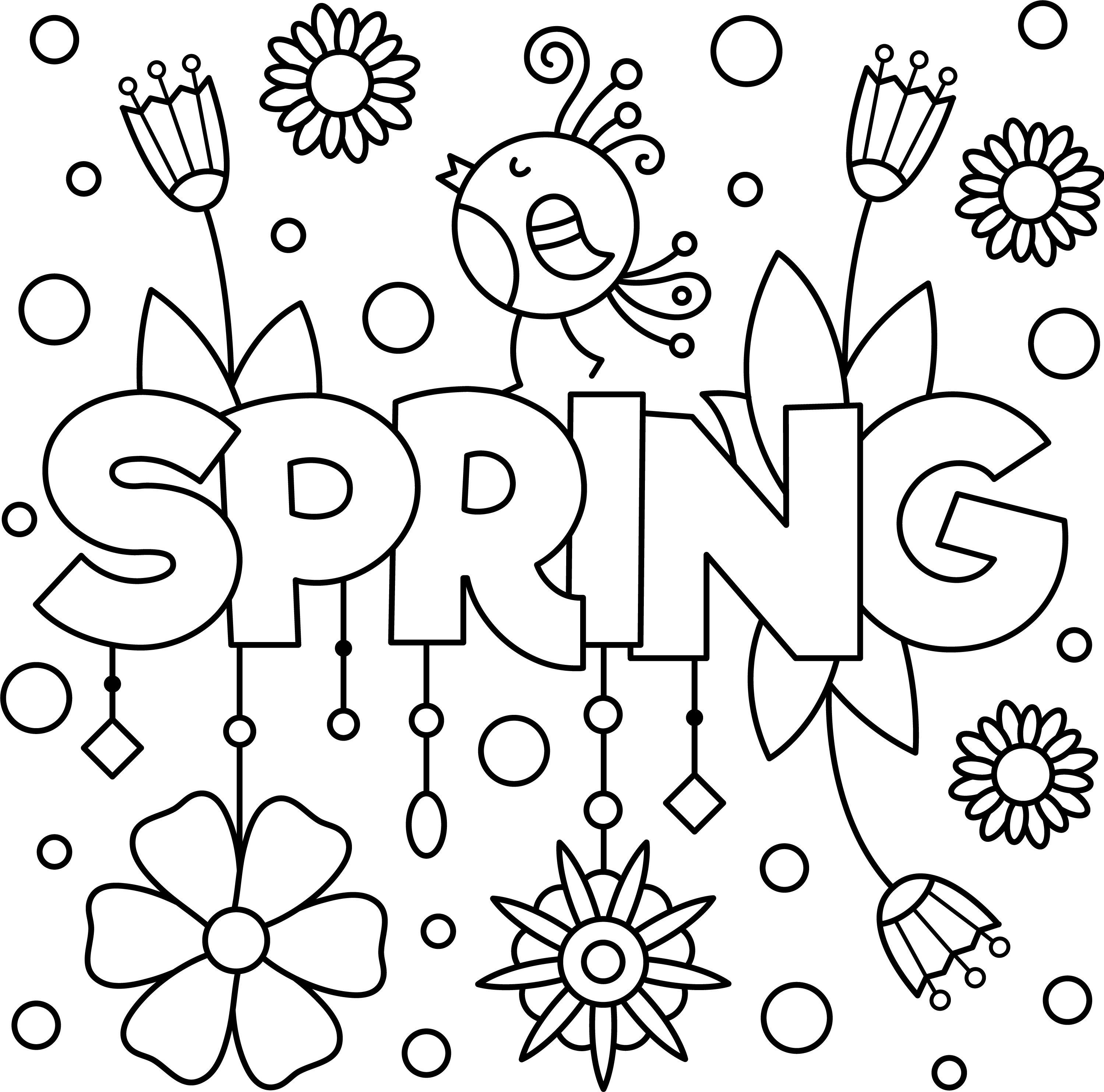 Fun Spring Colouring Page Printable Spring Coloring Pages