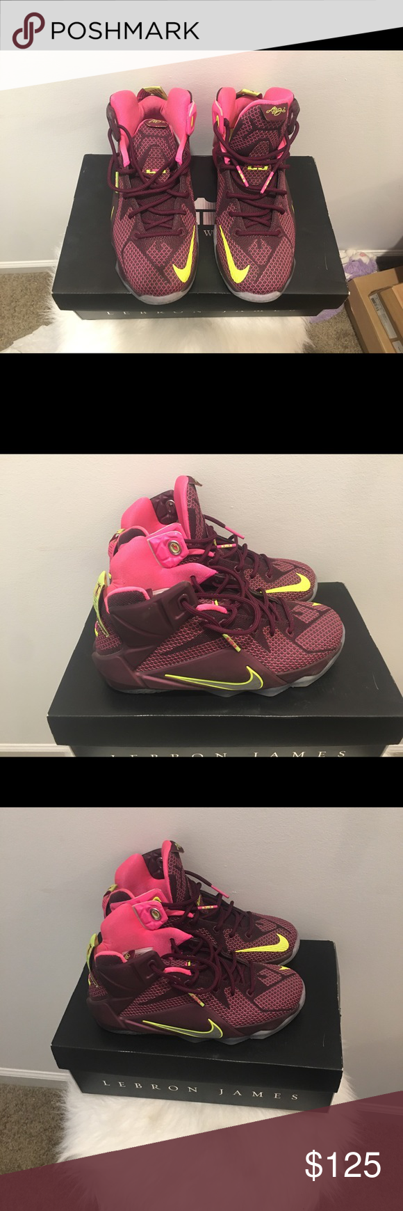 Nike Lebron James - The Twelve Lebron James- The Twelve in Mauve, Pink and Neon Yellow in size 4.5 youth. It's equivalent to size 6 1/2 and 7 in womens.     Worn twice and it's was purchased a few weeks after release date. Shoes Sneakers