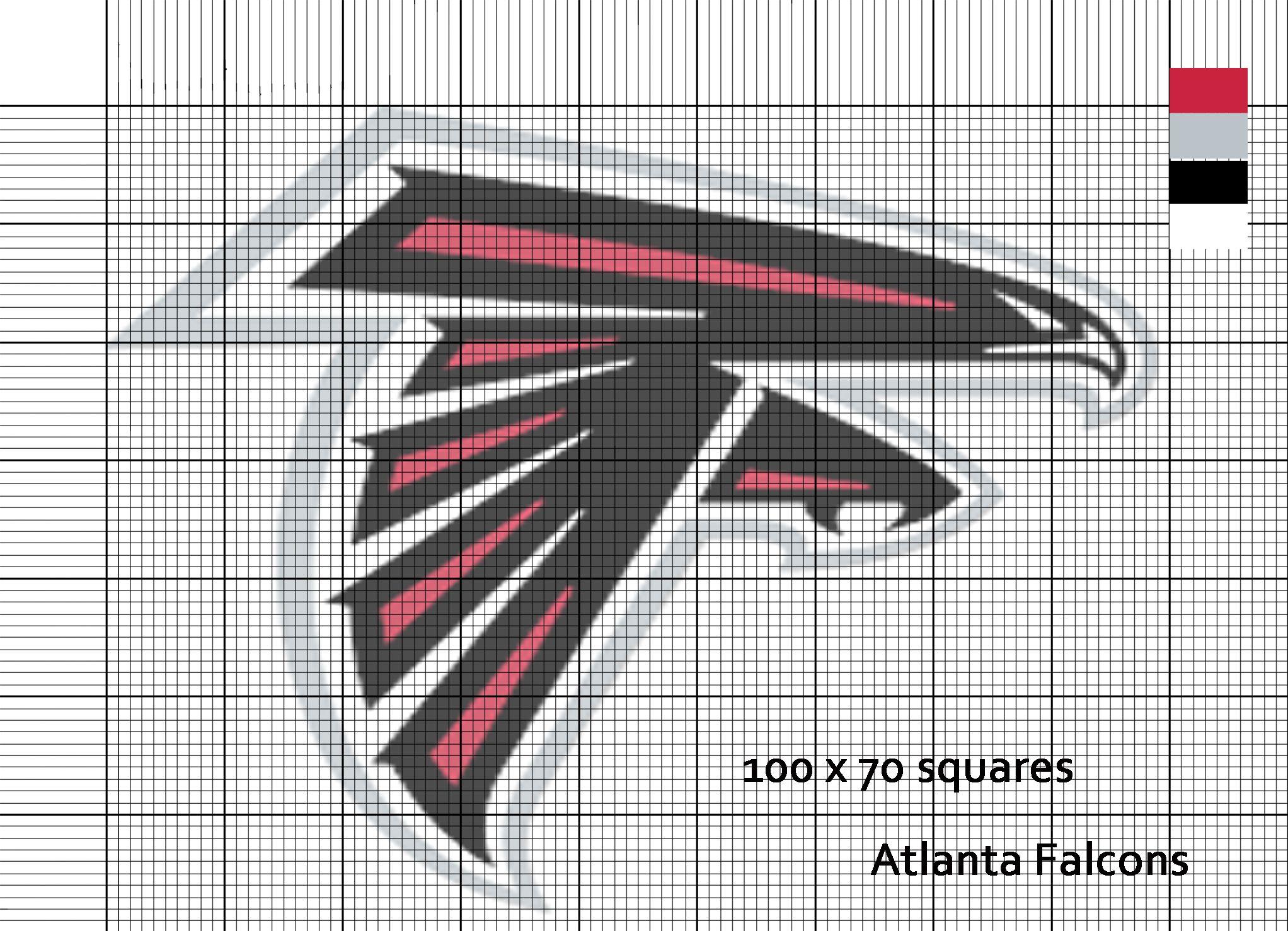 Atlanta Falcons Nfl Logo Cross Stitch Pattern Cross Stitch Patterns Cross Stitching Crochet Blanket Patterns