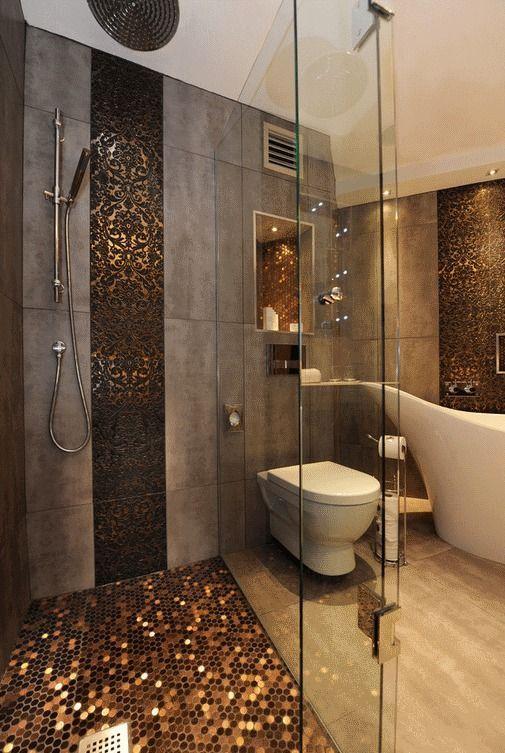 Photo of Hexagon Stainless Steel Brushed Mosaic Tile Bronze Copper Color Black Bathroom Shower Floor Tiles TSTMBT021