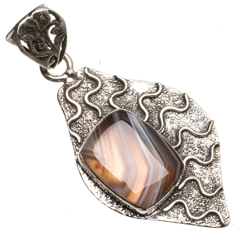 Botswana Agate Women 925 Sterling Silver Pendant FREE GIFT BOX