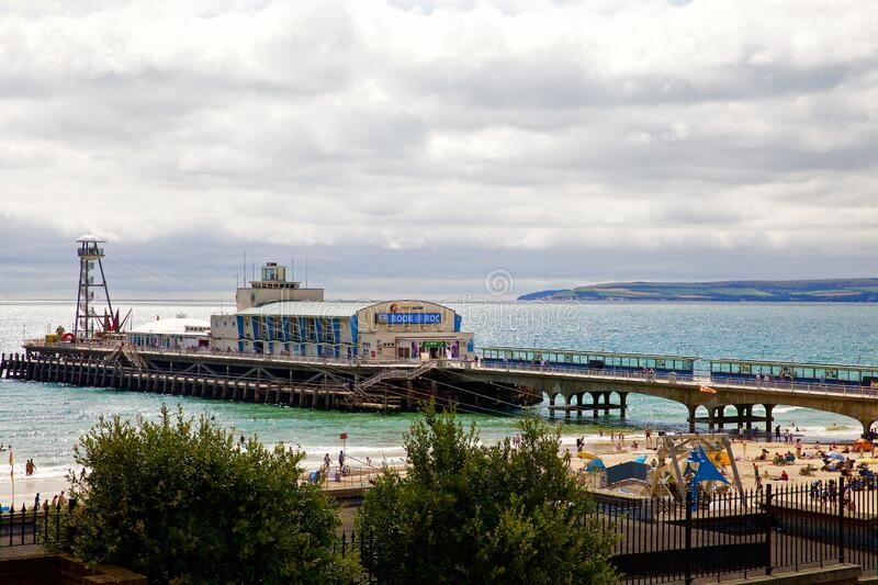Bournemouth Pier. Elevated shot of Bournemouth Pier, Dorset. England #Sponsored , #Advertisement, #Sponsored, #Pier, #England, #Dorset, #Bournemouth