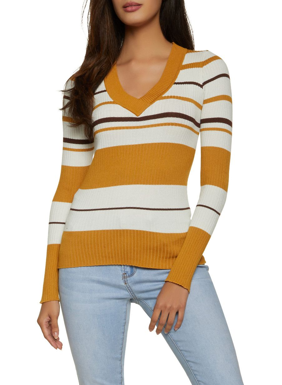 Long Sleeve Striped Rib Knit Sweater #stripedlongsleevetops