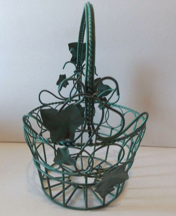 Sale Vintage Green Wire Basket With Ivy Leaves by ArtByThePond ...
