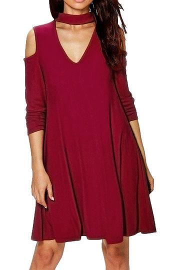 784973b9b6ef Burgundy Choker Neck Cut-Out Cold Shoulder Swing Dress