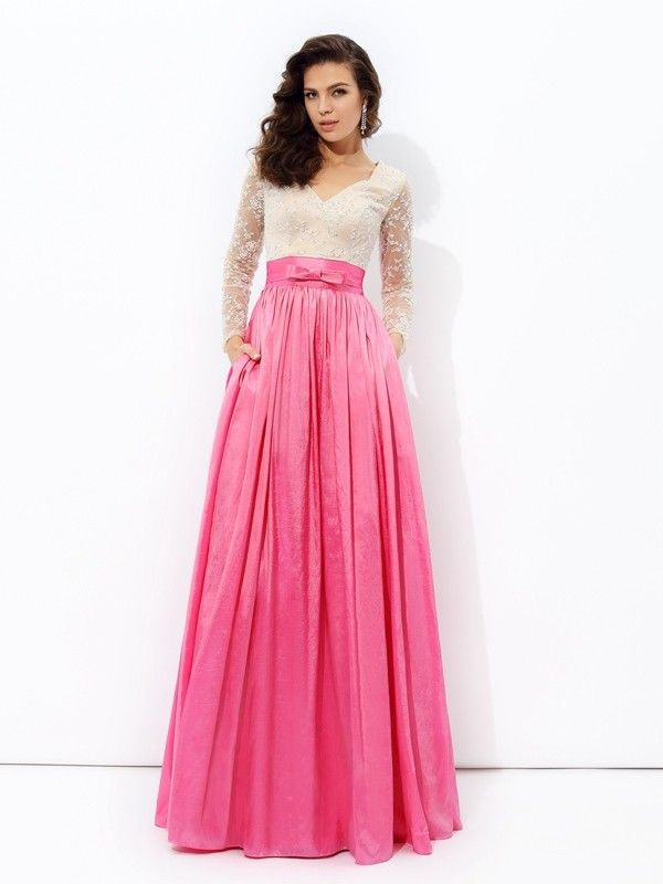 A-line/Princess V-neck Lace Long Sleeves Floor-Length Taffeta Dresses